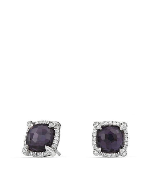 David Yurman   Châtelaine Pavé Bezel Earrings With Black Orchid And Diamonds   Lyst