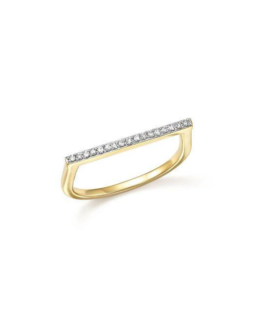 Adina Reyter   Metallic 14k Yellow Gold Pavé Diamond Flat Bar Ring   Lyst