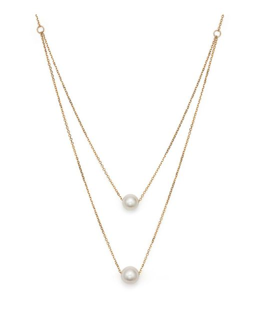 """Bloomingdale's - Metallic Cultured South Sea Pearl Two Row Necklace In 14k Yellow Gold, 17"""" - Lyst"""