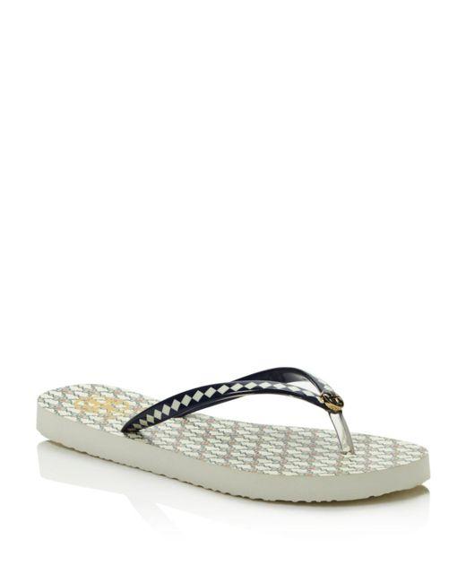 Tory Burch | White Thin Printed Flip-flops | Lyst