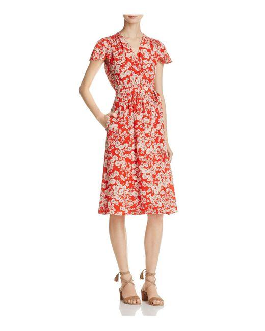 Rebecca Taylor | Red Cherry Blossom Silk Wrap Dress | Lyst