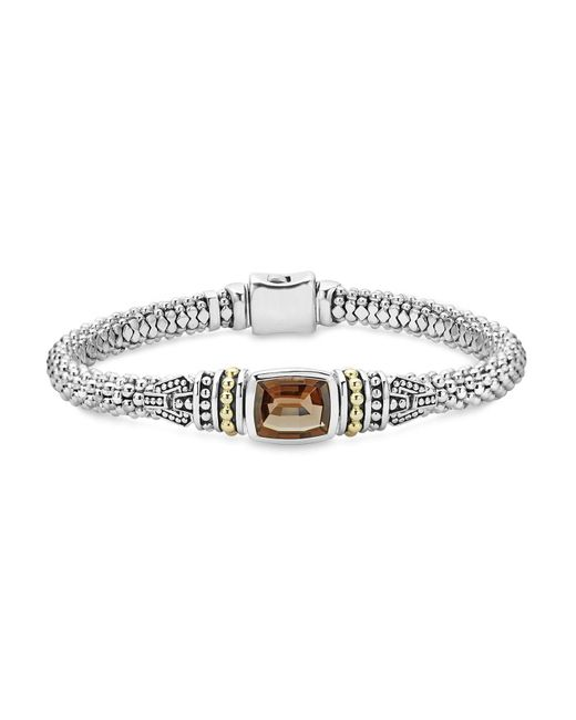 Lagos | Metallic 18k Gold And Sterling Silver Caviar Color Bracelet With Smoky Quartz | Lyst