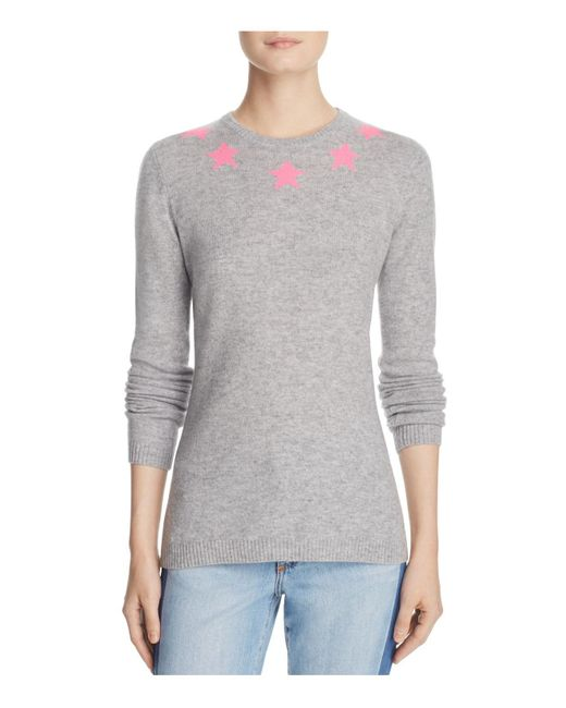 Aqua | Gray Cashmere Intarsia-star Sweater | Lyst
