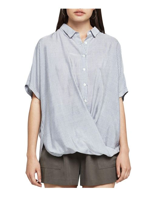 BCBGeneration | Blue Striped Button-down Front-tuck Shirt | Lyst