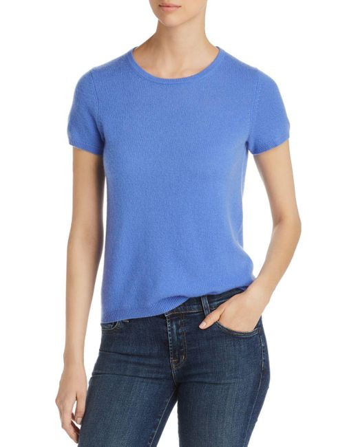 C By Bloomingdale's Blue Short - Sleeve Cashmere Sweater