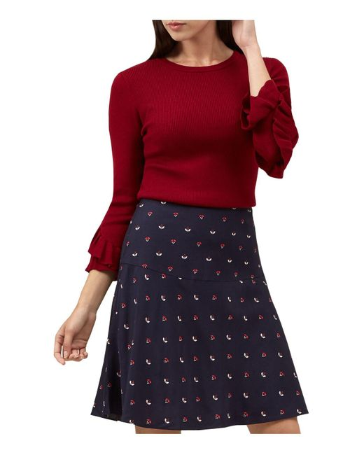 Hobbs | Red Ellen Ruffle-sleeve Sweater | Lyst