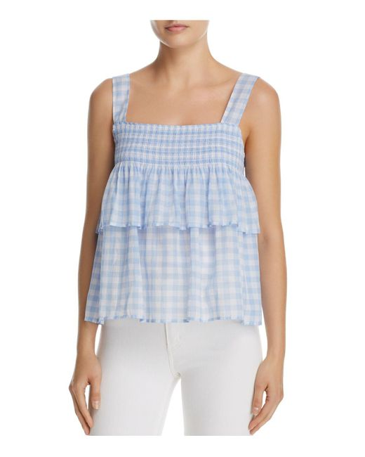 Rebecca Minkoff   Blue Coral Tiered Gingham Top   Lyst