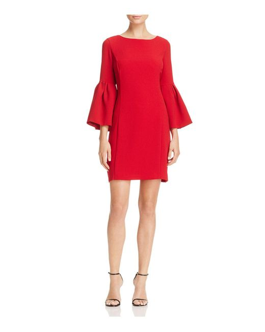 Laundry by Shelli Segal | Red Bell-sleeve Crepe Shift Dress | Lyst