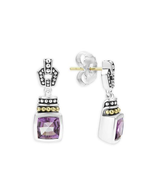 Lagos | Metallic 18k Gold And Sterling Silver Caviar Color Amethyst Drop Earrings | Lyst