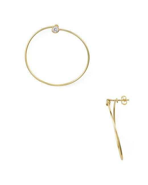 Aqua - Metallic Pavé Frontal Hoop Earrings In 18k Gold - Plated Sterling Silver - Lyst