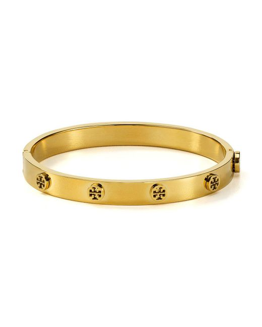 Tory Burch - Metallic Logo Studded Hinge Bangle - Lyst