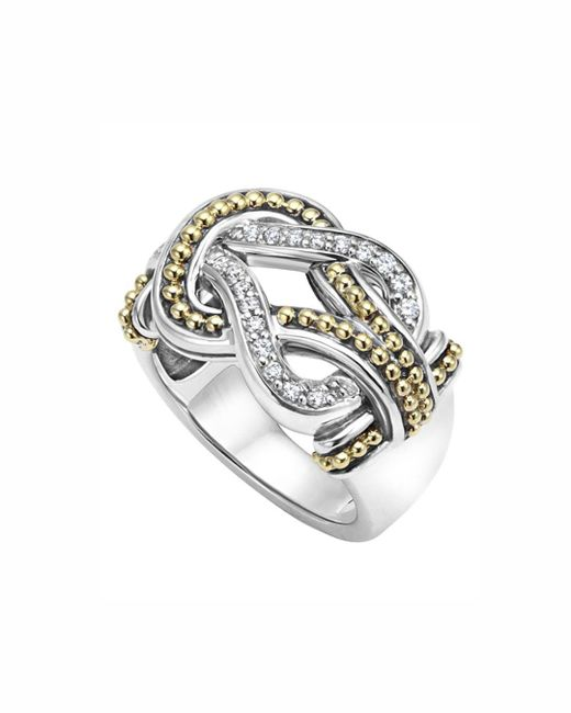 Lagos Metallic Sterling Silver And 18k Gold Newport Diamond Ring