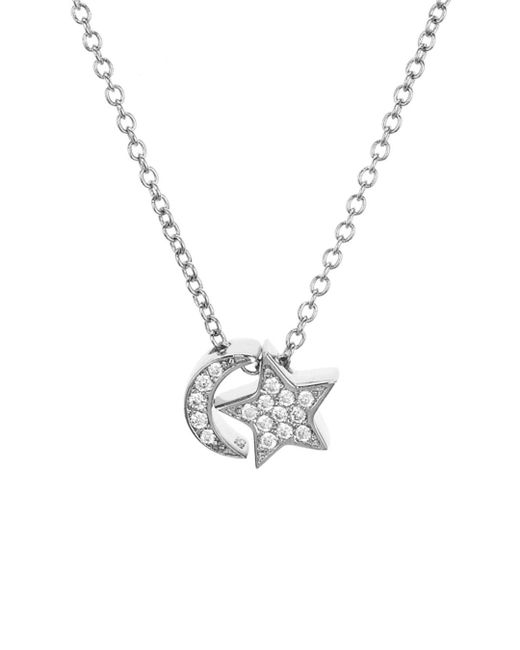Aqua Metallic Sterling Silver Moon & Star Pendant Necklace
