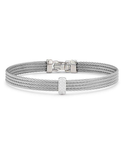 Alor - Metallic Cable Bangle Bracelet With Diamonds - Lyst