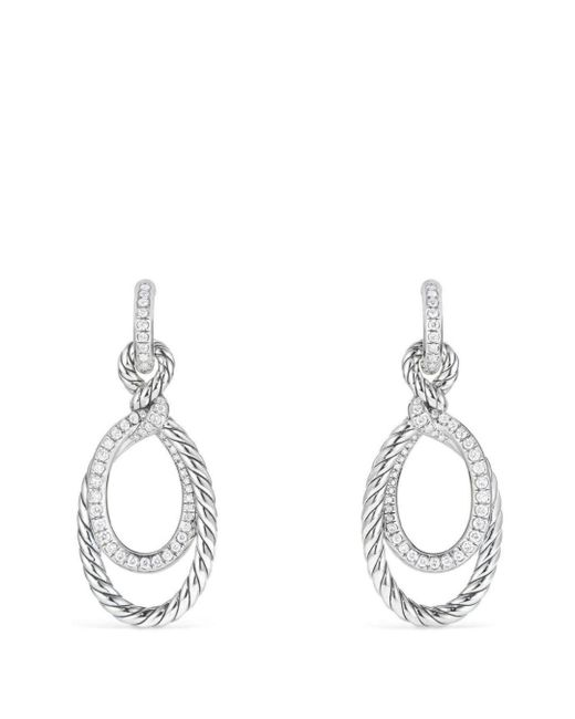 David Yurman - Metallic Continuance Drop Earrings With Diamonds - Lyst