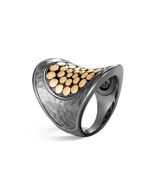 John Hardy - Metallic Blackened Sterling Silver & 18k Bonded Gold Dot Saddle Ring - Lyst