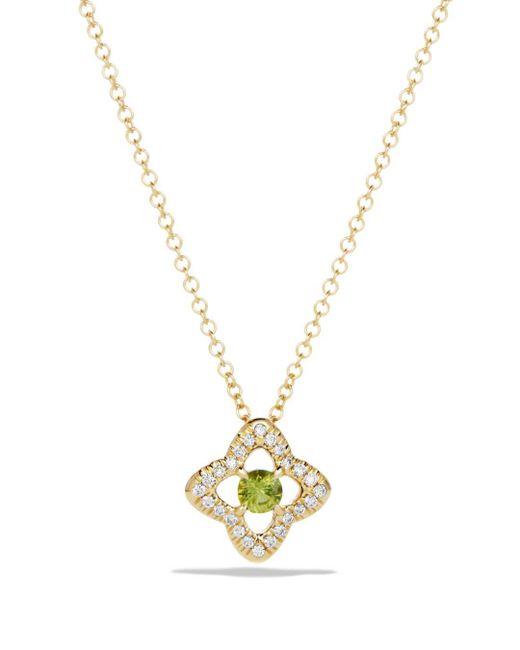 David Yurman - Metallic Venetian Quatrefoil Necklace With Peridot And Diamonds In 18k Gold - Lyst