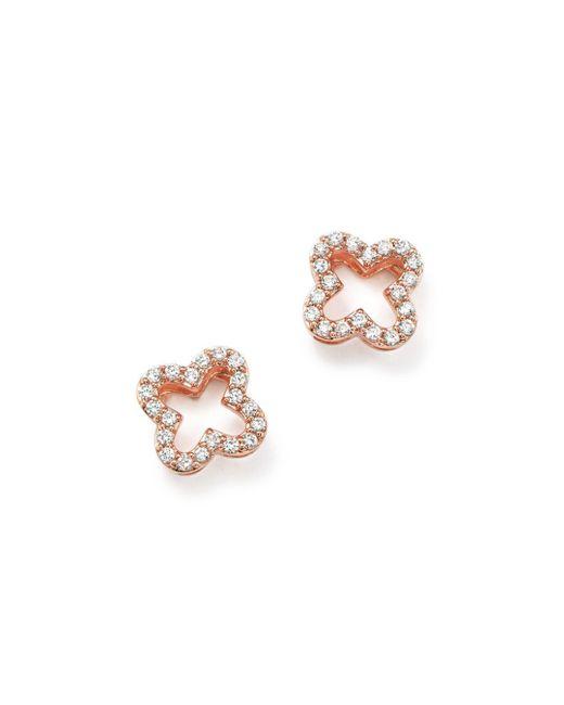 Bloomingdale's - Pink Diamond Clover Stud Earrings In 14k Rose Gold, .20 Ct. T.w. - Lyst