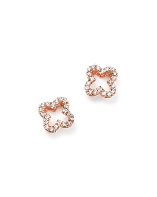 Bloomingdale's - Pink Diamond Clover Stud Earrings In 14k Rose Gold - Lyst