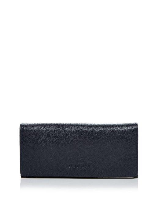 Longchamp Blue Veau Foulonne Checkbook Wallet