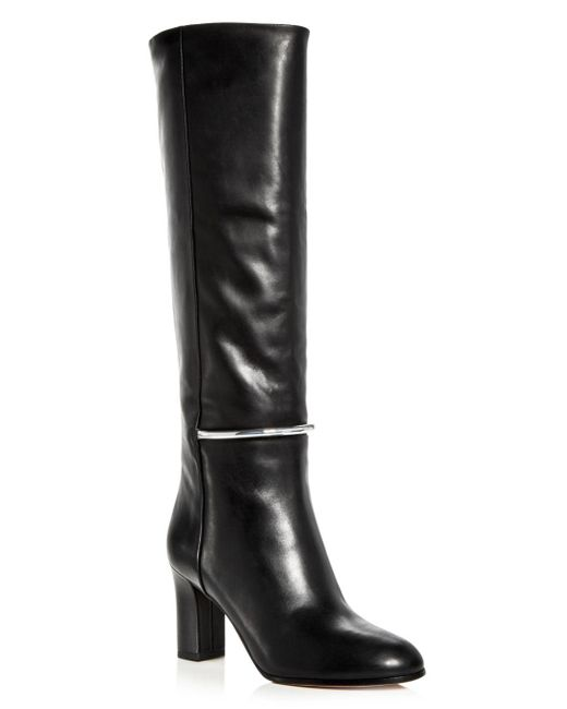 Via Spiga - Black Women's Shaw Leather Tall High-heel Boots - Lyst