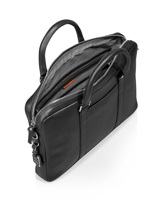 Shinola Black Slim Commuter Briefcase for men