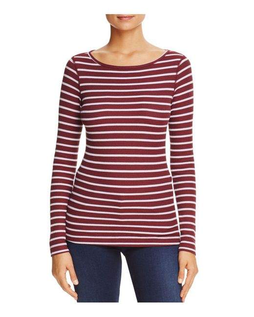 Three Dots - Red British Striped Thermal Top - Lyst