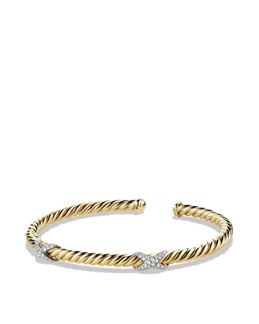 David Yurman - Metallic X Bracelet With Diamonds In 18k Gold - Lyst