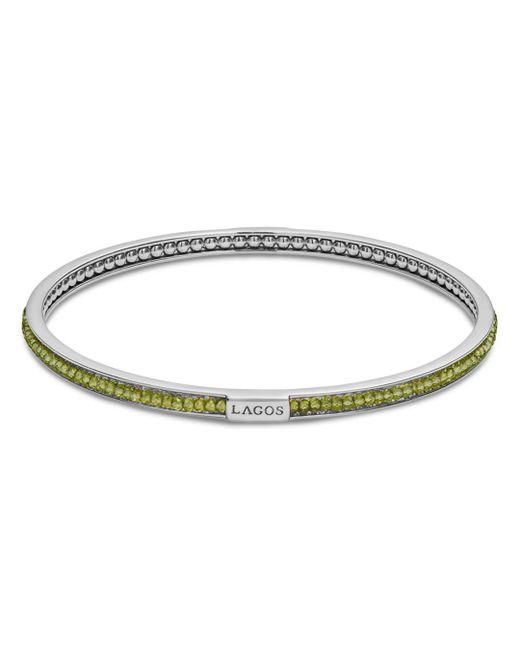 Lagos - Metallic Sterling Silver Caviar Icon Peridot Beaded Bangle Bracelet - Lyst