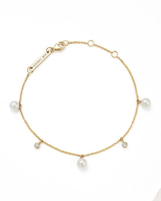 Zoe Chicco - Metallic 14k Yellow Gold Cultured Freshwater Pearl And Diamond Charm Bracelet - Lyst