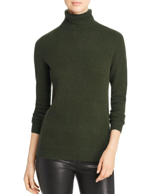 C By Bloomingdale's Green Cashmere Turtleneck Sweater