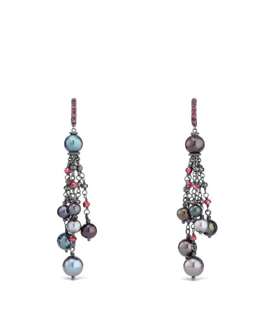 David Yurman - Multicolor Bijoux Cultured Gray Freshwater Pearl Fringe Earring With Rhodolite Garnet And Hematine - Lyst
