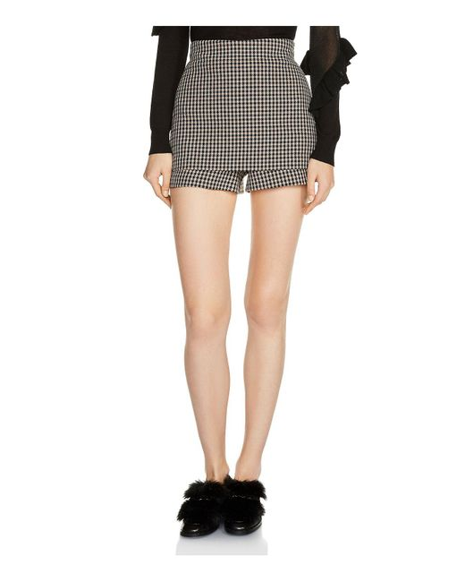 Maje | Multicolor Ilia Front-overlay Houndstooth Mini Shorts | Lyst