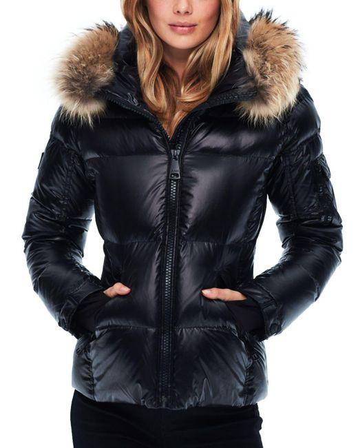 Sam. Black Blake Fur - Trim Down Coat