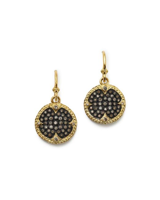 Armenta - Metallic Blackened Sterling Silver & 18k Yellow Gold Old World Champagne Diamond Carved Disc Earrings - Lyst
