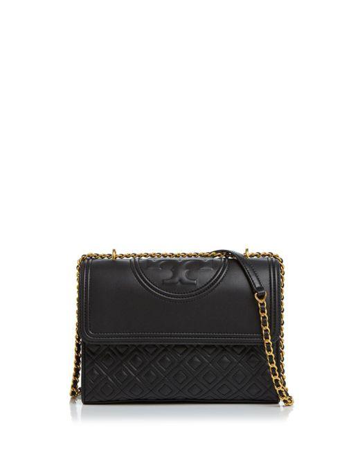 Tory Burch Black Fleming Convertible Leather Shoulder Bag