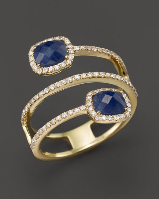 Meira T - 14k Yellow Gold Blue Sapphire Triple Row Ring With Diamonds - Lyst