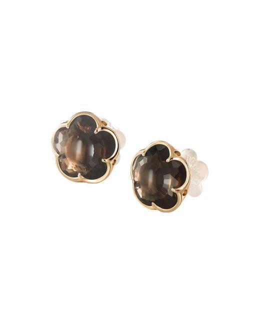 Pasquale Bruni | Metallic 18k Rose Gold Smoky Quartz Floral Stud Earrings | Lyst
