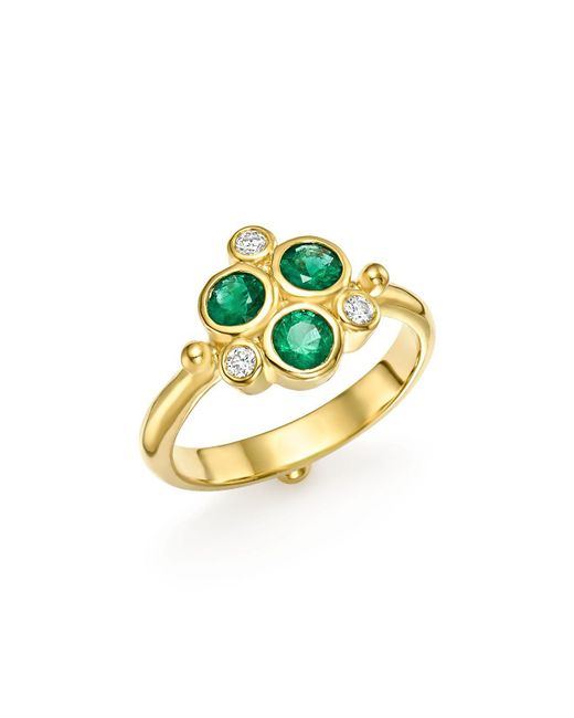 Temple St. Clair | Metallic 18k Yellow Gold Emerald Trio And Diamond Ring | Lyst