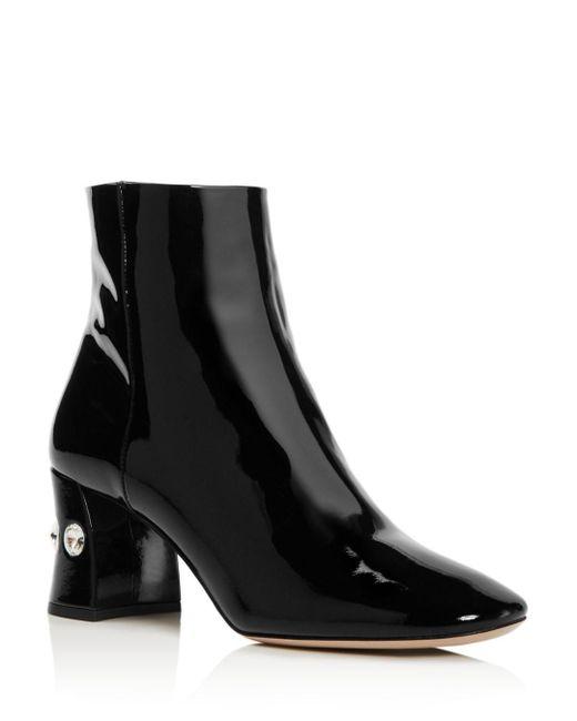 Miu Miu Black Women's Rocchetto Patent Leather Booties