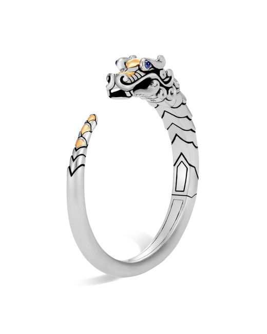 John Hardy | Metallic Brushed 18k Yellow Gold And Sterling Silver Legends Naga Small Kick Cuff With Sapphire Eyes | Lyst