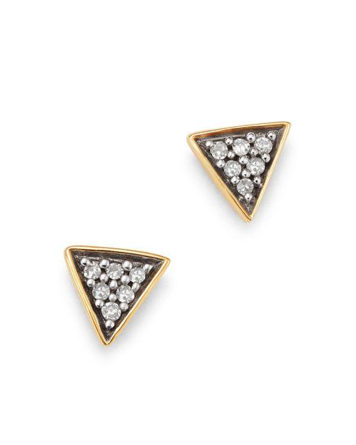 Adina Reyter Metallic 14k Yellow Gold Pavé Diamond Super Tiny Triangle Stud Earrings