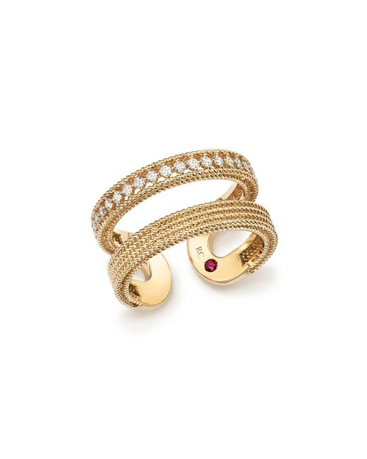 Roberto Coin | Metallic 18k Yellow Gold Symphony Diamond Double Ring | Lyst