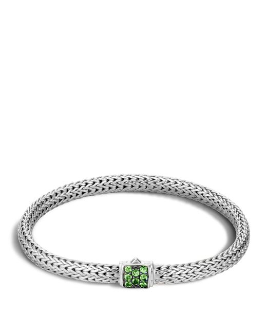 John Hardy - Green Classic Chain Sterling Silver Lava Extra Small Bracelet With Tsavorite - Lyst