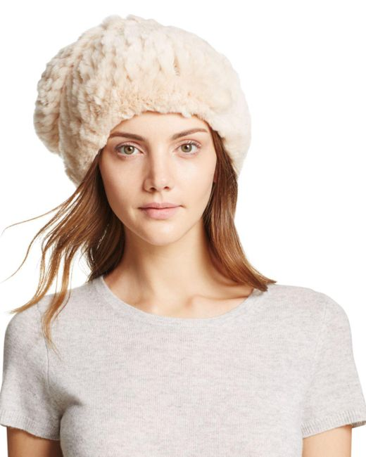 Surell Natural Rabbit Fur Slouch Hat