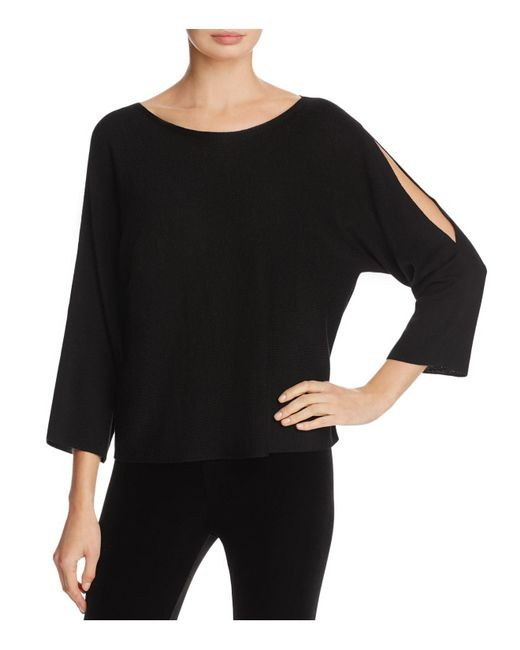 Eileen Fisher | Black Slit-sleeve Top | Lyst