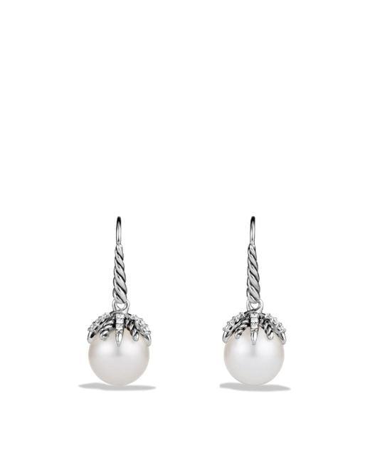 David Yurman - Metallic Starburst Earrings With Pearls & Diamonds - Lyst
