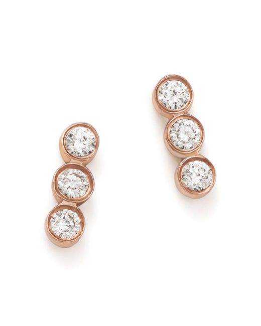 Zoe Chicco - Multicolor 14k Rose Gold Triple Diamond Bezel Stud Earrings - Lyst