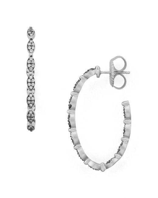 Freida Rothman - Metallic Pavé Hoop Earrings - Lyst