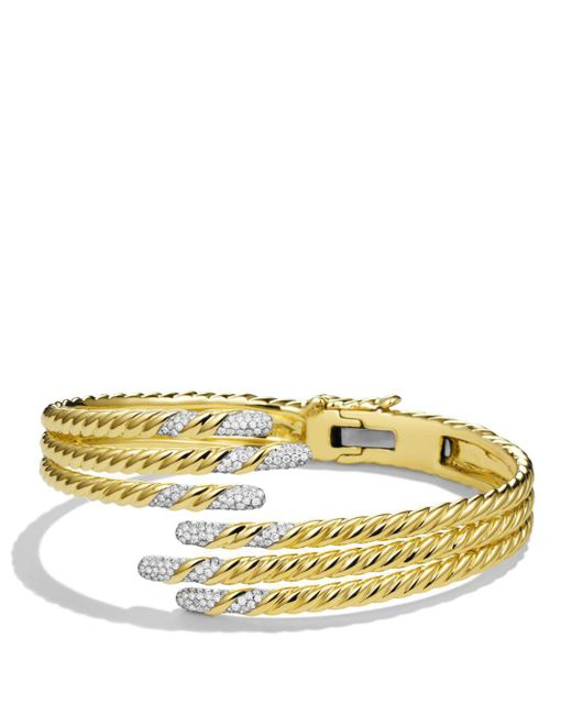 David Yurman - Yellow Willow Open Three-row Bracelet With Diamonds In Gold - Lyst